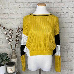 Express   Mustard Yellow & Black Crop Knit Sweater